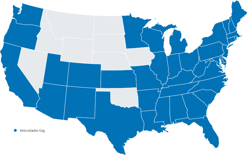 Mapa de América donde las velocidades Gig están disponibles.