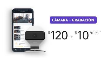 Cámara + grabación en vivo $120 + $10/mes