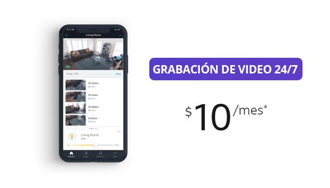 Grabación de video 24/7  $10 por mes